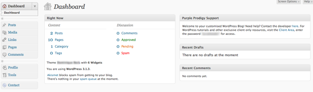 Shows an uncluttered dashboard using the User Role Editor plugin