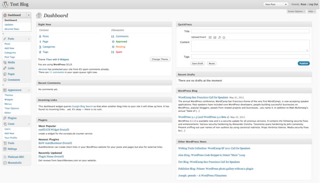 The cluttered look of an non customised WordPress Dashboard
