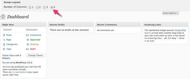 Customising the WordPress Dashboard by changing column layout to four