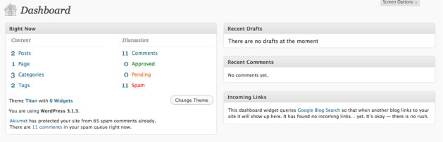Customising the WordPress Dashboard by dragging widgets around